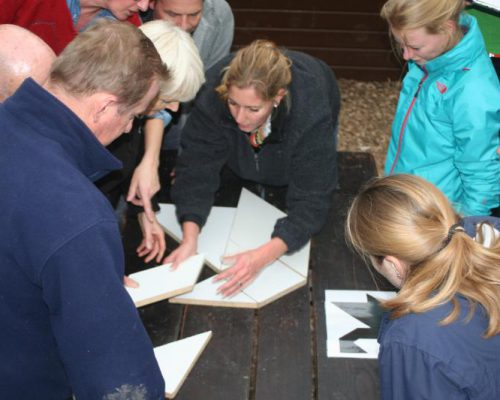 team bezig met tangram-puzzel