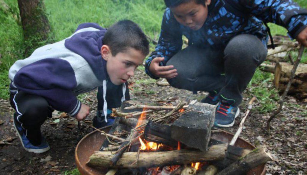 kinderen maken kampvuur